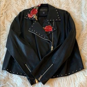 Faux Embroidered Leather Jacket